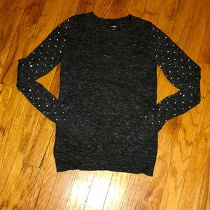 Express Grey Sweater Rhinestone sleeves XS